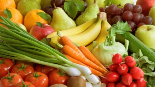 Assortment of fresh vegetables and fruit